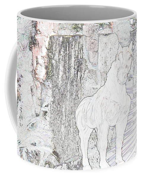 Waterfall Horse Horses Stallion Jungle Forest Scenery Trees Fantasy Coffee Mug featuring the photograph The Protector by Andrea Lawrence