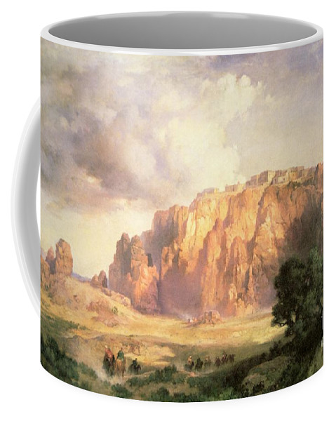 The Pueblo Of Acoma Coffee Mug featuring the painting The Pueblo Of Acoma In New Mexico by Thomas Moran