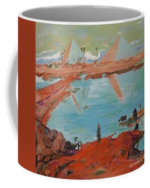 Landscape Coffee Mug featuring the painting The Pyramids by Denise Morgan