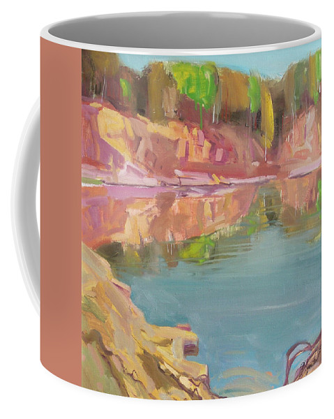 Oil Coffee Mug featuring the painting The Quarry by Sergey Ignatenko