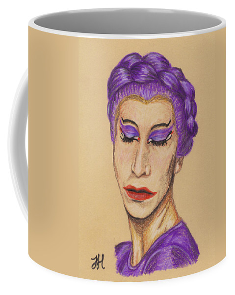 Drag Queen Coffee Mug featuring the drawing The Queen by Jean Haynes