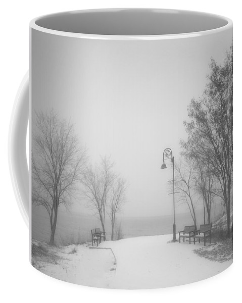 Black&white Coffee Mug featuring the photograph The Quiet Moment Before Snow Touches Ground by Tara Turner