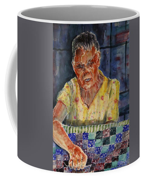 Quilt Coffee Mug featuring the painting The Quilter by Shirley Sykes Bracken