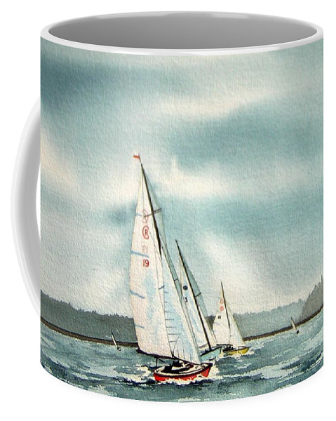 Sailing Coffee Mug featuring the painting The Race by Gale Cochran-Smith