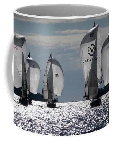 Sailing Racing Sea Water Wind Coast Coffee Mug featuring the photograph Sails Up - The Race Is On by Jukka Otsamo