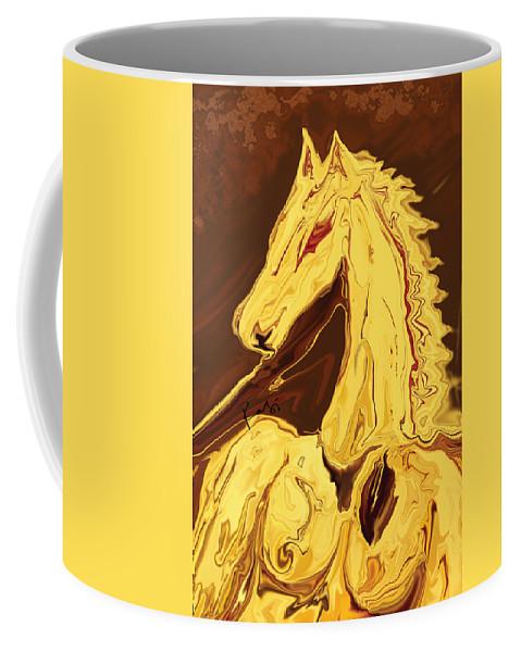 Brown Coffee Mug featuring the digital art The Race by Rabi Khan
