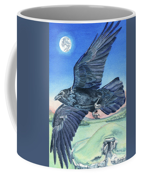 Raven Coffee Mug featuring the painting The Raven by Antony Galbraith