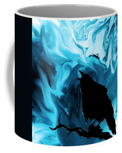 Raven Coffee Mug featuring the digital art The Raven's Blues by Abstract Angel Artist Stephen K