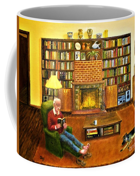 Bookcases Coffee Mug featuring the painting The Reading Room by Olga Silverman