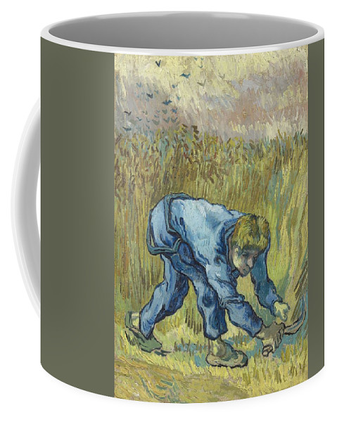 Art Coffee Mug featuring the painting The Reaper After Millet by Artistic Panda