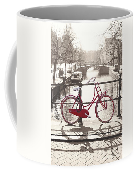 Amsterdam Coffee Mug featuring the photograph The Red Bicycle Of Amsterdam by Saiid El Ghazal