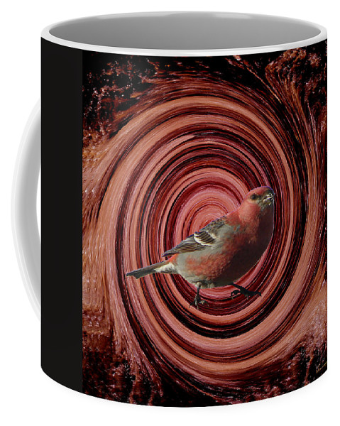 Bird Red Abstract Water Splash Mother Nature Wild Animal Digital Art Coffee Mug featuring the digital art The Red Bird by Andrea Lawrence