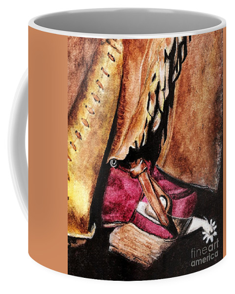 Western Boots Coffee Mug featuring the painting The Red Boot by Frances Marino