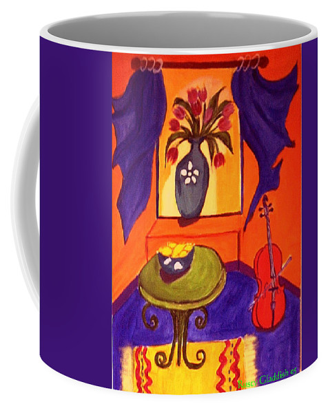 Cello Coffee Mug featuring the painting The Red Cello by Rusty Gladdish