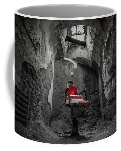 Eastern State Penitentiary Coffee Mug featuring the photograph The Red Chair by Kristopher Schoenleber
