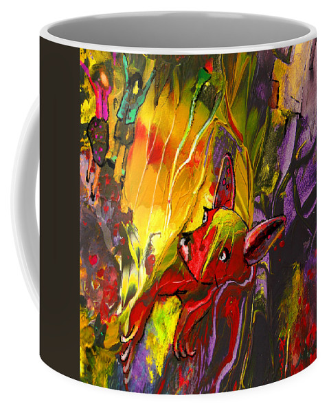Fantasy Coffee Mug featuring the painting The Red Dog by Miki De Goodaboom