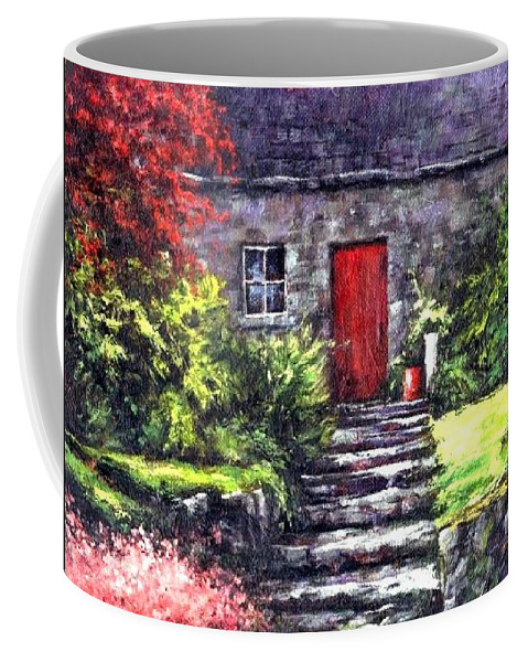 Ireland Coffee Mug featuring the painting The Red Door by Jim Gola
