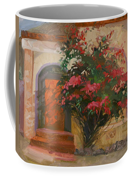 Catalina Island Ca Coffee Mug featuring the painting The Red Door - Catalina Island by Betty Jean Billups