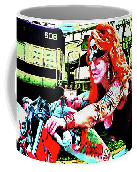 Harley Davidson Coffee Mug featuring the photograph The Red Headed Slut by Rogermike Wilson