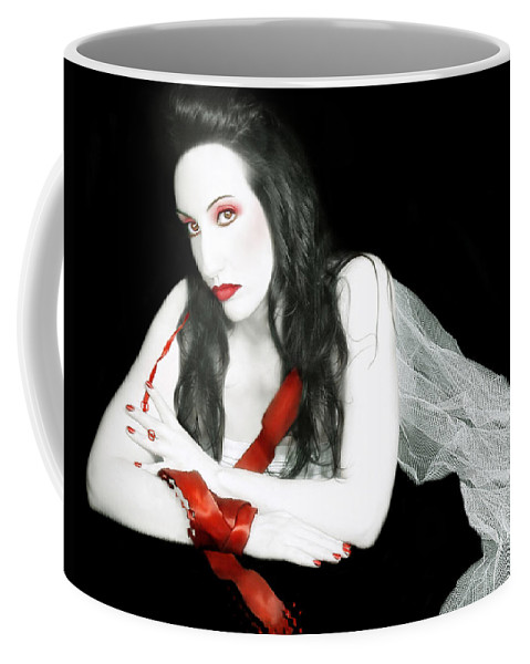 Beautiful Coffee Mug featuring the photograph The Red Lie - Self Portrait by Jaeda DeWalt