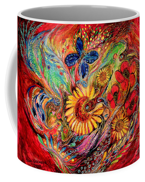 Original Coffee Mug featuring the painting The Red On Red by Elena Kotliarker