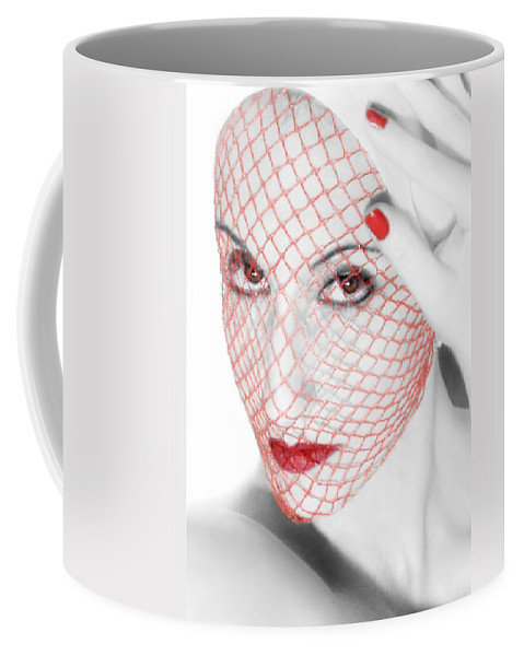 Art Coffee Mug featuring the photograph The Red Realm - Self Portrait by Jaeda DeWalt