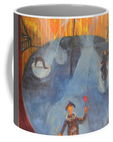 Circus Series Red Rose Clown Coffee Mug featuring the painting The Red Rose by Nandu Vadakkath
