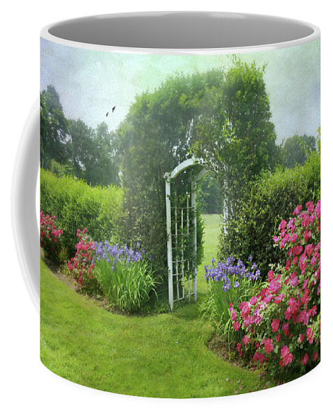 Landscape Coffee Mug featuring the photograph The Red Rose Trellis by Diana Angstadt