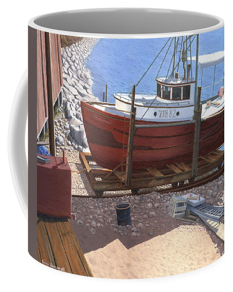 Fishing Boat Coffee Mug featuring the painting The Red Troller by Gary Giacomelli