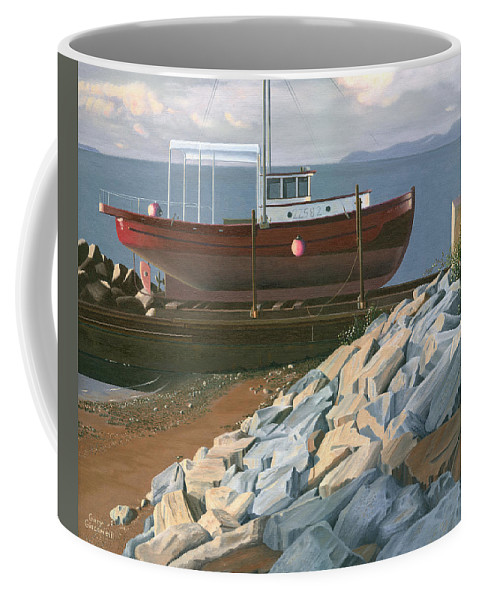 Ship Coffee Mug featuring the painting The Red Troller Revisited by Gary Giacomelli