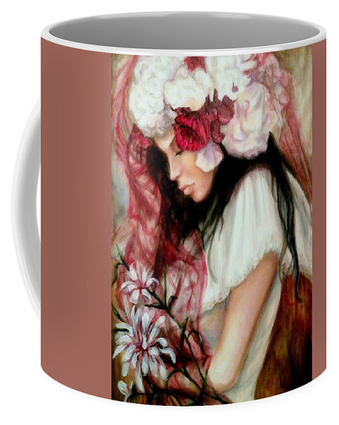 Figure Of A Female Coffee Mug featuring the painting The Red Veil by Em Scott