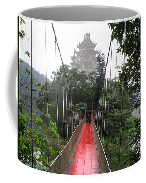 Temple Bridge Water Mountain Taiwan Love Couples Scenery Coffee Mug featuring the photograph The Red Way In by Andrea Lawrence