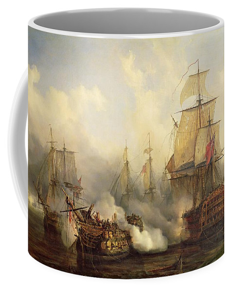 The Coffee Mug featuring the painting Unknown Title Sea Battle by Auguste Etienne Francois Mayer
