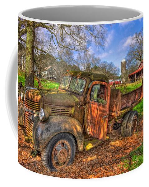 Reid Callaway Old Barn Coffee Mug featuring the photograph The Resting Place Boswell Farm 1947 Dodge Dump Truck by Reid Callaway