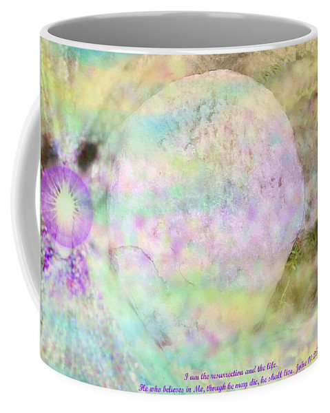 Easter Coffee Mug featuring the photograph The Resurrection Horizon Event-no Rock Could Hold Him In Garden Tomb Vision Jerusalem 2008 by Anastasia Savage Ealy