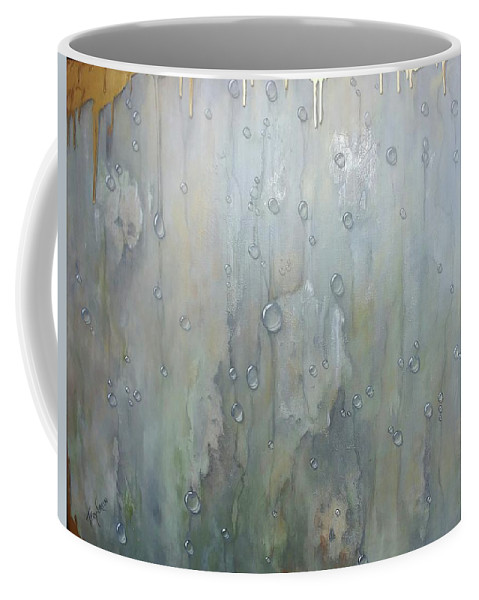Abstract Coffee Mug featuring the painting The Rhythm Of Falling Rain by T Fry-Green