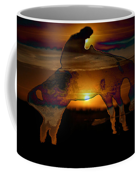 Cowboy Horse Bronc Rider Rodeo Sunrise Skyline Skyscape Sun Clouds Rider Coffee Mug featuring the photograph The Ripple Effect by Andrea Lawrence