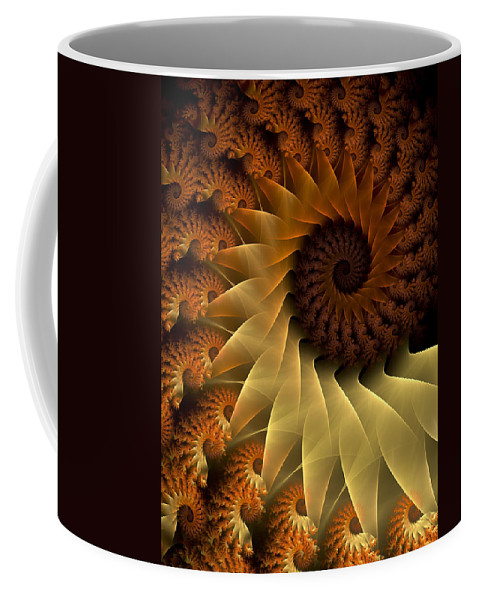Fractal Coffee Mug featuring the digital art The Rising Sun by Amorina Ashton