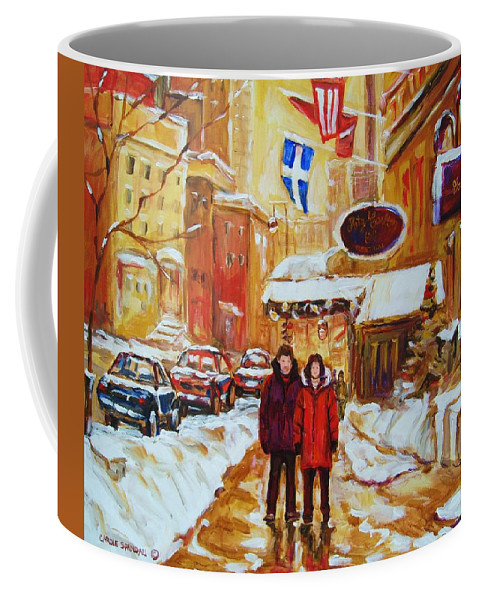 Streetscene Coffee Mug featuring the painting The Ritz Carlton by Carole Spandau