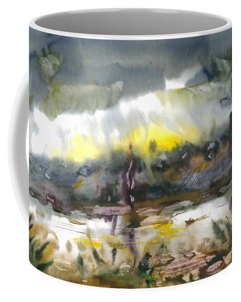 Watercolor Coffee Mug featuring the painting The River Nistru IIi by Sveatoslav Zacon