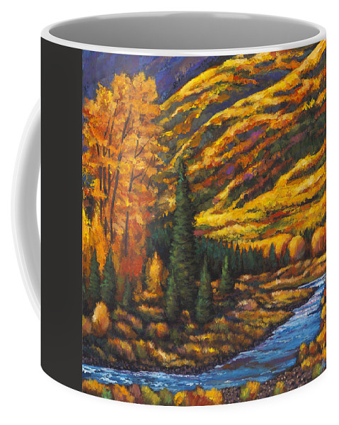 Landscape Coffee Mug featuring the painting The River Runs by Johnathan Harris