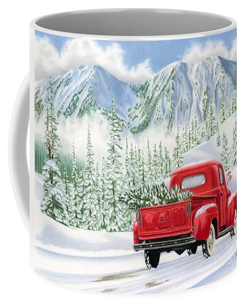 Christmas Truck Coffee Mug featuring the painting The Road Home by Sarah Batalka