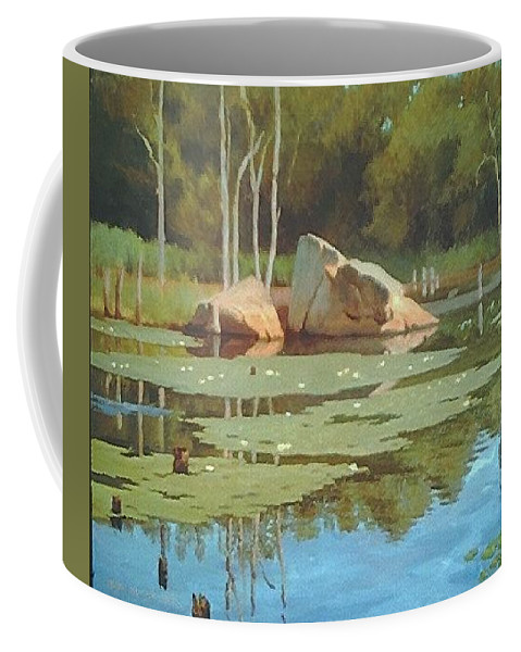 Landscape Coffee Mug featuring the painting The Rock by Dianne Panarelli Miller