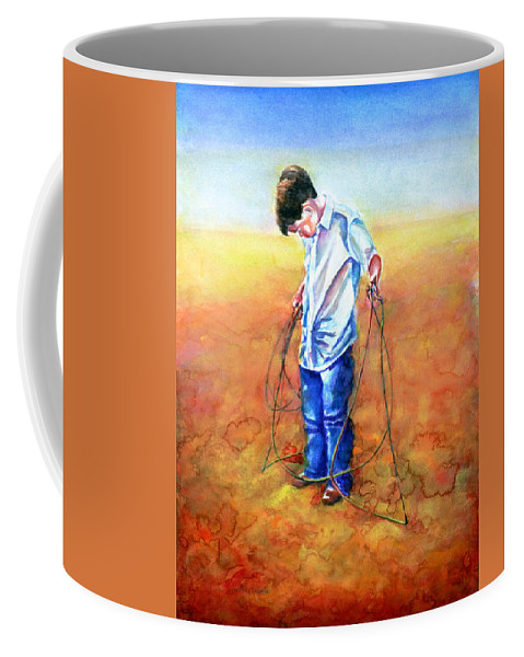Child Coffee Mug featuring the painting The Roping Lesson by Shannon Grissom