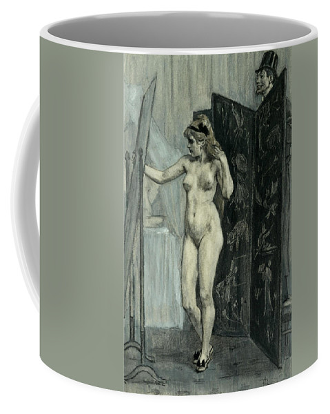 Felicien Rops Coffee Mug featuring the drawing The Screen by Felicien Rops