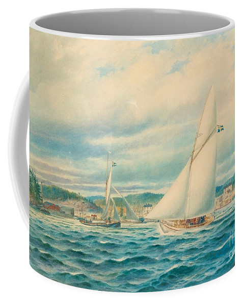 Jacob H�gg Coffee Mug featuring the painting The Sea Approach To Kyrkviken by MotionAge Designs
