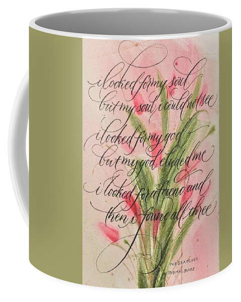 Calligraphy Coffee Mug featuring the painting The Searcher II By Thomas Blake by Sally Wightkin