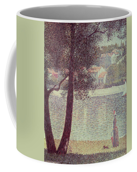 The Coffee Mug featuring the painting The Seine At Courbevoie by Georges Pierre Seurat