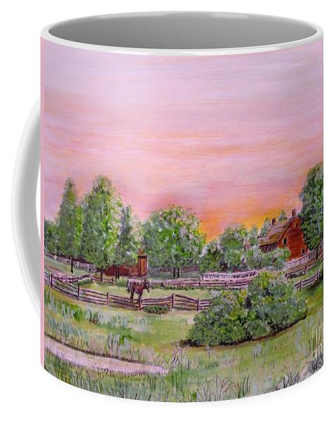 Farms Coffee Mug featuring the drawing The Setting Sun On The Farm by Olga Silverman