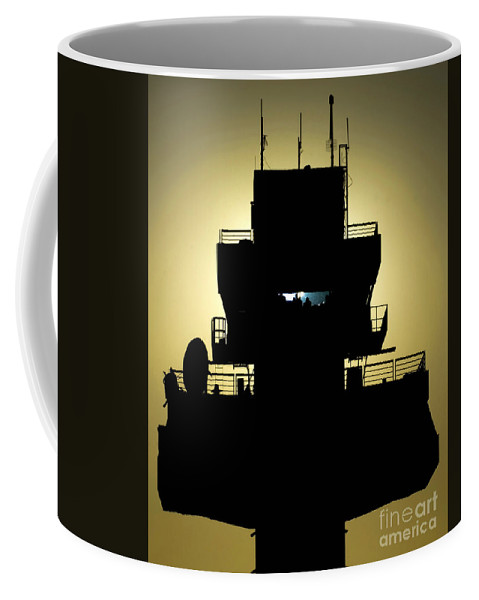 Military Coffee Mug featuring the photograph The Setting Sun Silhouettes An Air by Stocktrek Images